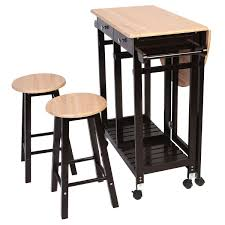 Rolling Kitchen Island 3 Pcs Rolling Kitchen Island Cart With 2 Stools Kitchen Dining