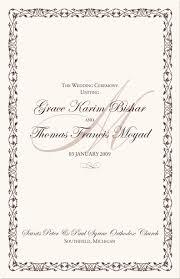 Wedding Ceremony Program Cover Greek Orthodox Wedding Ceremony Program Example Wedding Directories