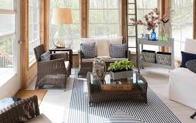 sunroom wicker furniture. country style sunroom with wicker furniture and area rug