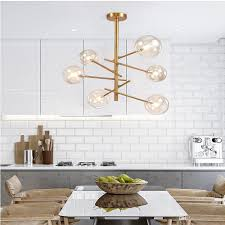 Großhandel Moderne Hängelampe Licht Led Esszimmer Schlafzimmer Foyer Runde Glaskugel Schwarz Gold Nordisch Einfache Moderne Pendelleuchte Lampe Von