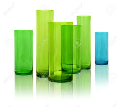 Modern Glass Vases Modern Colored Glass Vases Row On White Reflective Background