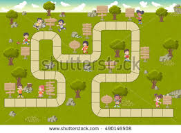 Wooden Path Game Board Game Block Path On Green Stock Vector 100 Shutterstock 49