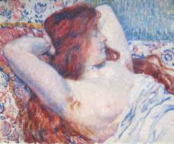 file reclining woman with red hair by théophile van rysselberghe dayton art