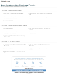 quiz worksheet identifying logical fallacies com print what are logical fallacies define identify and avoid them worksheet