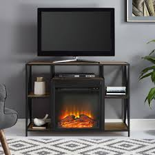 walker edison 40 rustic electric fireplace x frame tv stand console entertainment center