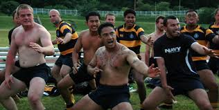 sailors from the royal new zealand navy frigate te mana perform a maori war the haka after winning a rugby match against the uss george washington