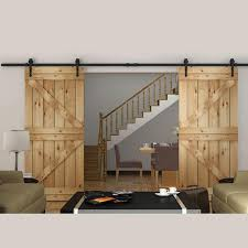 2018 8ft double sliding barn door hardware rustic black arrow wheel barn wood closet door hanger kit from diyhd 145 73 dhgate com