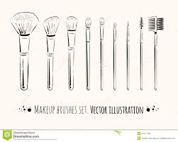 drawing royalty free vector makeup brushes