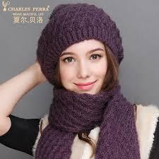 <b>Charles Perra</b> Women <b>Hat</b> Scarf Sets Autumn Winter New Knitted ...
