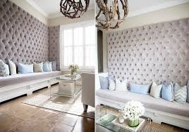 Upholstered living room walls.