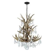 visual comfort rl5528bn cg ralph lauren straton single tier chandelier in natural antler with antiqued crystal