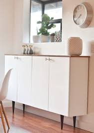 ikea credenza uses upper kitchen cabinets wood shelf as top