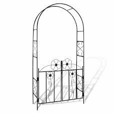 metal garden arch with gate outdoor