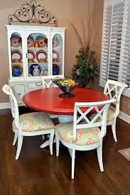 Red Table Top White Or Brown Legs Yellow Red And Teal Colors On