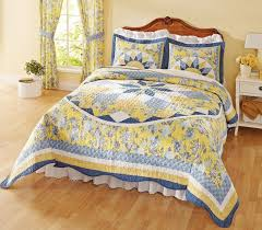 Patchwork Quilted Bedspread French Star Blue Yellow This beautiful ... & Patchwork Quilted Bedspread French Star Blue Yellow This beautiful,  French-inspired quilt features lovely shades of blue & yellow in an  intricate … Adamdwight.com