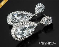 cubic zirconia bridal earrings teardrop crystal wedding earrings cz chandelier earrings bridal crystal earrings prom crystal earrings 31 90 usd