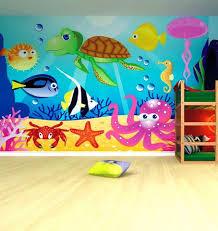 Ocean themed bathroom decor preschool classroom wall murals ideas