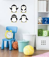 penguin wall decals set of four nursery wall stickers penguins cute birds vinyl wall decals daycare playroom bedroom penguin wall art