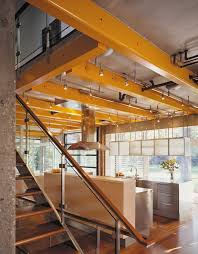 lighting for beams. Lighting Exposed Beams Kitchen Industrial With Glass Guardrail Great Room For