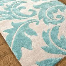 modern renaissance scrolling leaves plush rug in aqua and cream teal full size