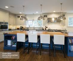 Off White Cabinets With A Blue Kitchen Island ...