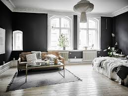 Monochrome Living Room Decorating Wooden Floor Potted Tree Black Walls White Fixtures Monochrome