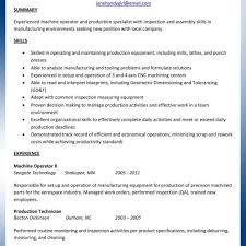 Machinist Resume Template Machinist Resume Template Cnc Examples Machine Operator Production 30