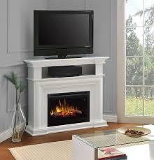 interior colleen wall or corner electric fireplace media console in white intended for electric fireplace