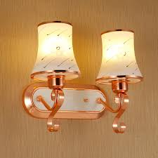modern rose gold glass lampshade wall lamp 1 2 head painting pattern glass shade