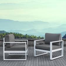 real flame baltic white 2 piece aluminum patio conversation set with gray cushions