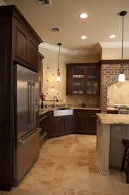 Wood Tile Floor Kitchen Dark Kitchen Cabinets And Tile Floors Quicuacom