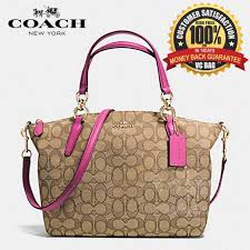 COACH F36625 Signature Small Kelsey Satchel Bag  Gold Khaki Dahlia