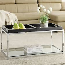Contemporary Glass Top Coffee Tables Glass Top Round Coffee Table Black Finish Modern Contemporary