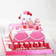 Jual Kue Ulang Tahun Model Hello Kitty Ukuran 20 X 20 Cm Fondant