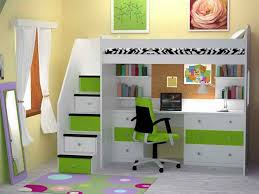 image of bunk bed with table underneath green