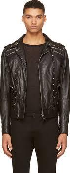 sel black leather studded emblem l gordias jacket