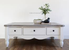 the shiplap coffee table with a painted weathered wood top what a transformation i love the grey layered finish on the top with a crisp