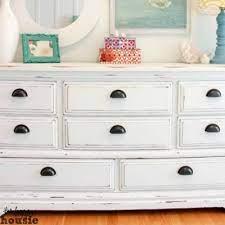 white chalky paint dresser makeover