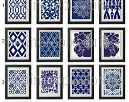 blue damask wall art