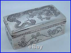 Decorating Cigar Boxes Antique Chinese Silver cigar Box EXPORT China 100 100 DRAGON 81