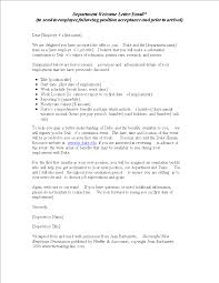 Department Welcome Letter Send To Employee After Position