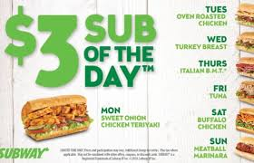 subway sub of the day