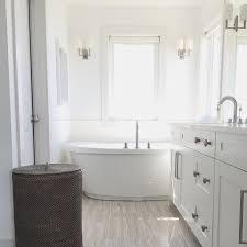 white wood tile bathroom. Beautiful Wood Wood Like Bathroom Floor Tiles With Oval Freestanding Tub Throughout White Tile T