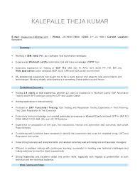 Manual Testing Fresher Resume Samples Sap Resume Manual Testing
