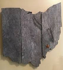 state outline vintage barn wood wall