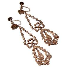 antique french edwardian marcasite chandelier earrings in silver sparkling
