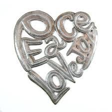 wall art metal peace love joy heart market haiti metal love heart wall art