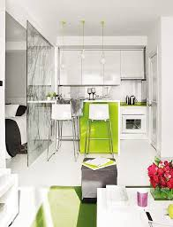 compact furniture. Great Interior Design Of A Small 40 Square Meter Apartment With Kitchen Iron Top White Chairs Compact Furniture