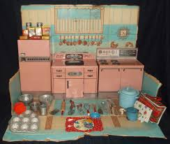 vintage pink kitchen set wolverine tin stove refrigerator sink