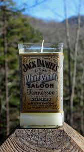 candle made from jack daniel s bottle